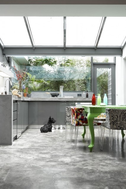 So Gorgeous! a Kitchen full of windows, the concrete floors and counter-tops, that cute Scotty pup, I like it all!