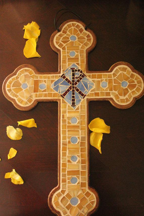 Mosaic cross byzantine cross handmade cross for wall by Psifida