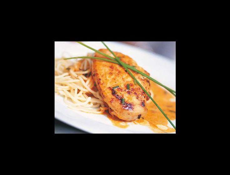 Blancs de poulet au poivron et spaghettis