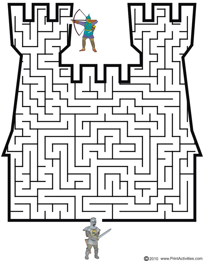 Castle Maze: Guide the knight thru the maze to the archer.