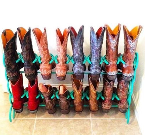 Hey, I found this really awesome Etsy listing at https://www.etsy.com/listing/230466748/teal-horseshoe-boot-rack-8-pair