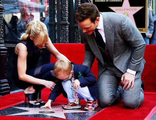 Anna Faris, Chris Pratt and Jack Pratt at Chris Pratt Honored With Star On The Hollywood Walk Of Fame on April 21, 2017 in Hollywood, California.