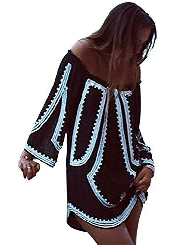 Special Offer: $14.99 amazon.com Features: Material: Polyester Colors: Black,White Collar: Slash neck Sleeve: Long Sleeve Style: Sexy Pattern: Print Occasion: Casual Garment Care: Hand-wash and Machine washable,Dry Clean Package Content: 1 x Women Dress Flat measurements size...