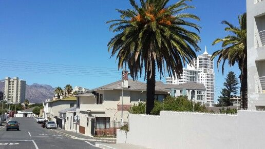 Hill Street views in the #Strand - #Helderberg - #CapeTown. #HibernianTowers apartment block on #BeachRoad visible between the palm trees. #CapeTown