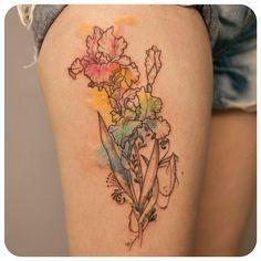 """""""iris :-) #타투이스트리버  #타투 #그라피투 #tattoo #graffittoo #수채화타투 #watercolortattoo"""""""