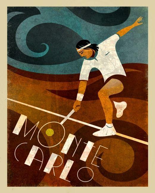 Vintage Monte Carlo tennis poster