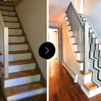 The before & after overview: these stairs were in major need of some love. Layers upon layers of dirt, scuffs and uneven spackle were covering what was apparently the home's original staircase. I knew a fresh coat of paint was the first thing we'd do.
