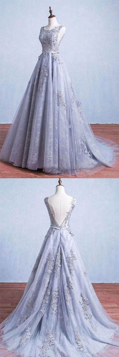 Glamorous A-Line Round Neck Gray Tulle Ball Gown Long Prom Dress