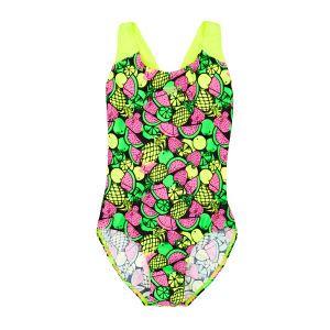 Speedo Swimsuits - Speedo Allover Spliceback Swimsuit - Fruit Cocktail Black/fluro Green