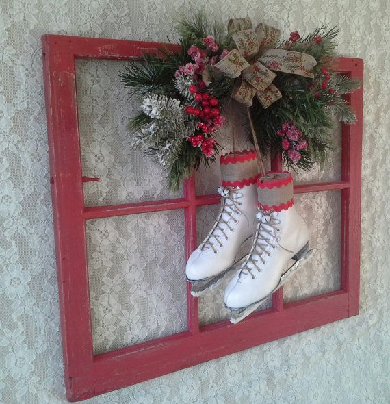Christmas wreath Window with Ice Skates Swag by SavannahsCottage