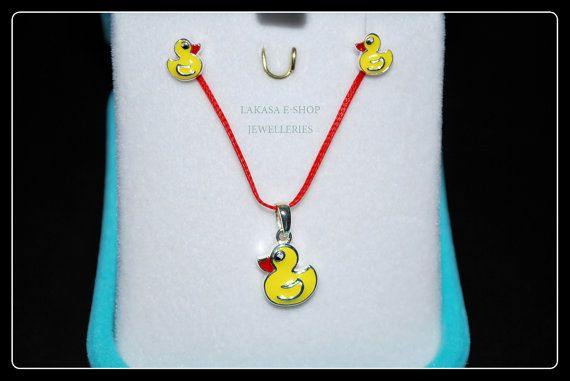 Set Duck Enamel Necklace Earrings Sterling by LakasaEshopDesign #set #earrings #necklace #jewelry #joyas #kids #collection #children #school #moda #silver #jewellery #bestideasgifts #birthdaygifts #birthday #παιδι #κοριτσι #παιδικο #κοσμημα #setkids