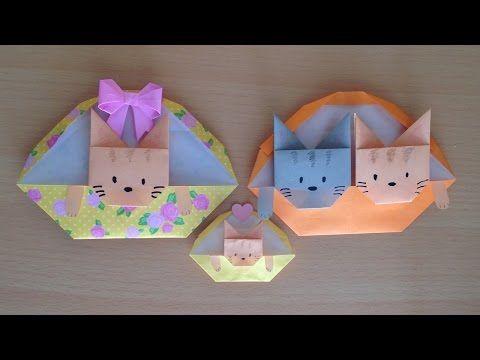 折り紙 猫 バスケット 簡単な折り方(niceno1)Origami cat in the basketmp4 - YouTube