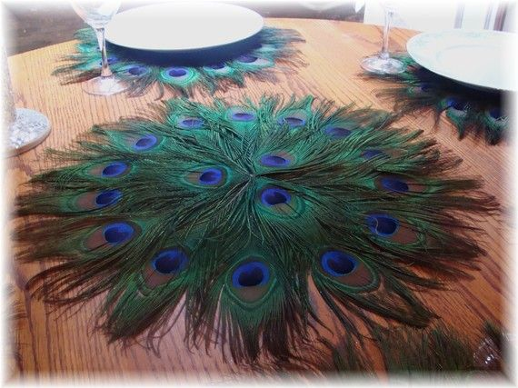 DIY? Ten 16 Peacock Feather Centerpiece Mats Featured on by Ivyndell $300