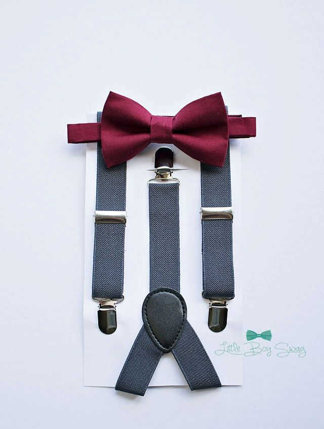 Burgundy bow tie with charcoal grey suspenders for boys to men.   Boys Bow Tie Suspenders, Burgundy Wine Bow Tie, Rustic Wedding, Baby Boy Bow Tie, Ring Bearer, Cake Smash, Boys Clothes, Boys First Birthday by LittleBoySwag on Etsy https://www.etsy.com/ca/listing/477852631/boys-bow-tie-suspenders-burgundy-wine