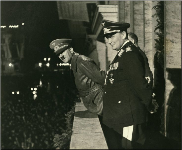 Hitler with Goering and von Ribbentrop in March, 1938 in Berlin.