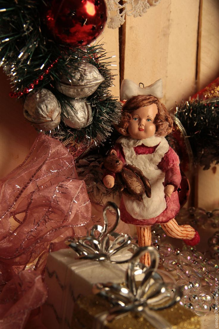 """Купить Бронь для Ирины Ватная игрушка """"Девочка с мишкой"""" - коралловый, ватная игрушка, девочка с мишкой"""