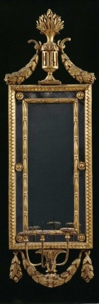 A LARGE PAIR OF GILTWOOD NEOCLASSICAL THREE LIGHT WALL SCONCES Northern Italian 1770 Carlton Hobbs Antiques LLC