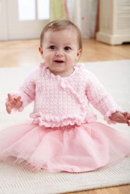 Pink Crochet Baby Jacket free crochet pattern.