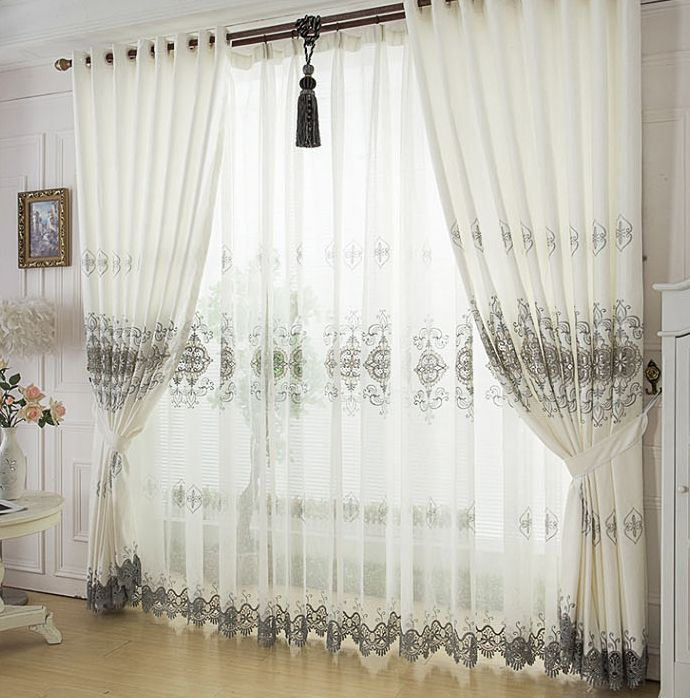 Attractive Creamy White High End Living Room Curtains