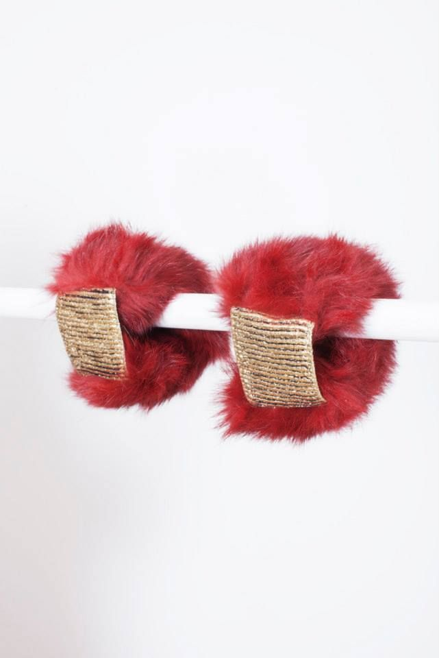BORDEAUX RABBIT FUR CUFFS // © MORECCO 2014