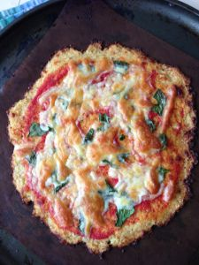 Paleo cauliflower pizza base in the thermomix