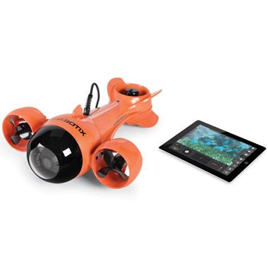 This is the remote operated submarine that sends live video to an iPad from 100' underwater. Ideal for viewing marine life or inspecting a boat below the waterline, the sub is tethered to its receiver on deck with a 100' video cable. Communicating with the receiver using Wi-Fi, an app installed onto an iPad or laptop remotely controls the sub's electric thrust and lift propellers for forward/backward (5 kts forward; 1 kt reverse), left/right, and up/down movement.