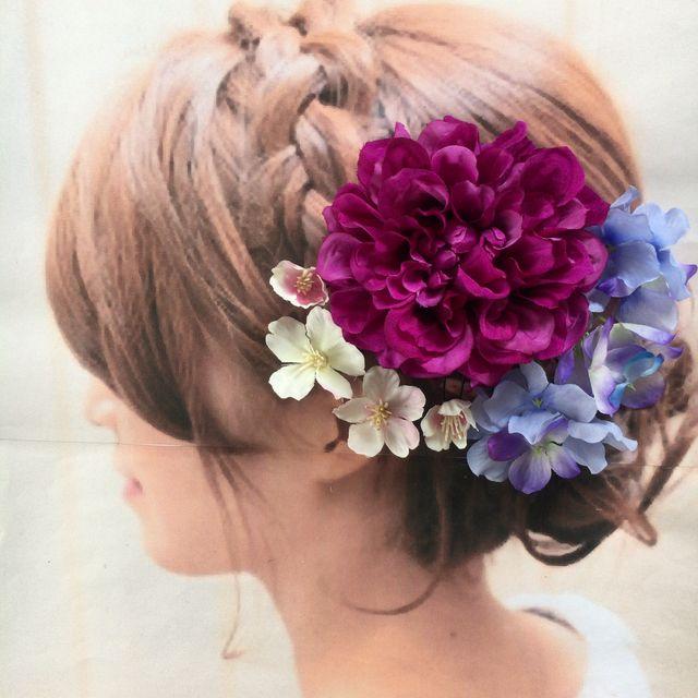 浴衣 桜が舞う パープルダリアとブルー紫陽花 桜の髪飾り 花飾り
