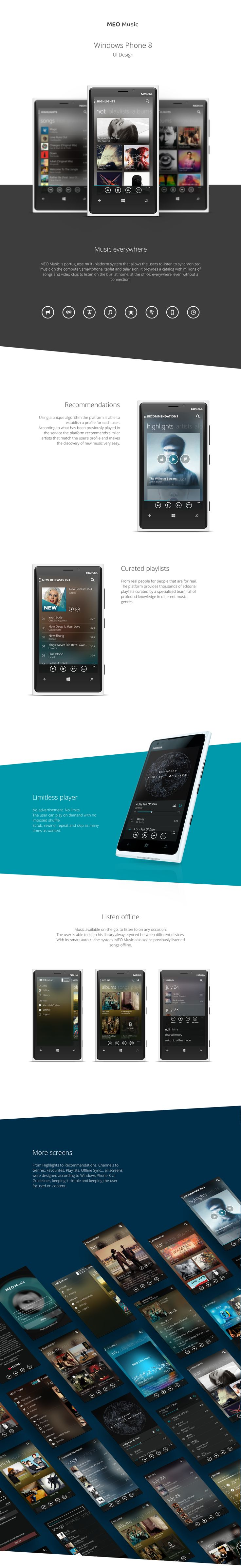 MEO Music / Windows Phone 8 on Behance