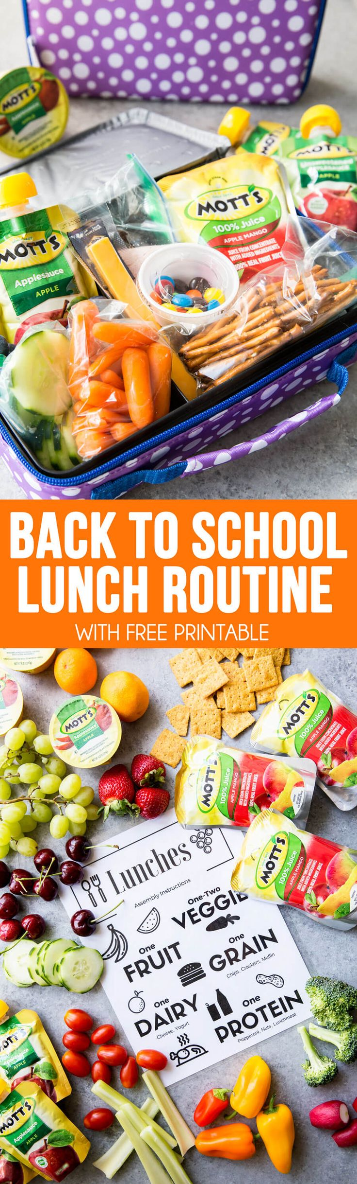 Back to School Lunch Routines, an easy way to get your kid's to pack their own lunches for back to school, with healthy options. Includes free printable. #ad