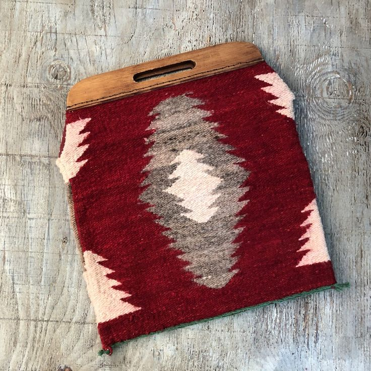 50's Navajo (Gallop throw) Rug Bag with wooden handles