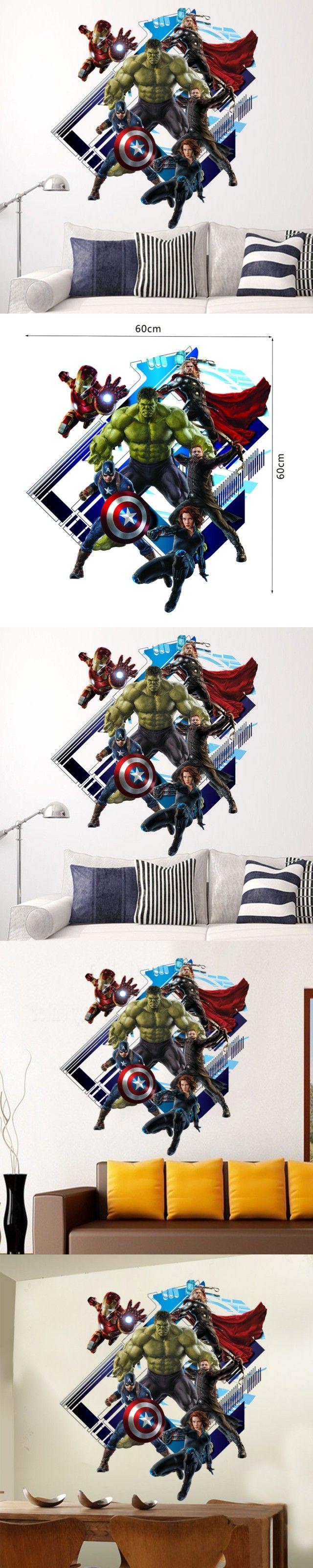 *%Y007 Super Hero Avengers Hulk Peel and Stick Wall Sticker Kids Room Stickers Cartoon Decals Home Decor Wallpaper Poster $4.19