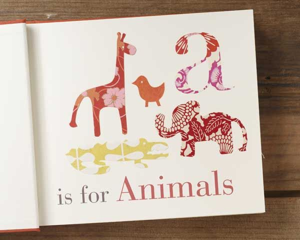 An alphabet baby book made with fine paper