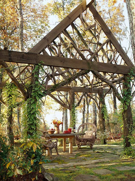 Wooden structure does a great job of blending into it's natural surroundings