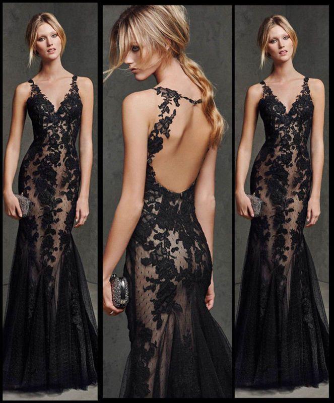 2ba5ad6d2c31 Neu Schwarz Spitze Mermaid Abendkleid formales Kleid Prom Brautkleid Größe  32-46   corset   Pinterest   Abendkleid, Kleider und Ballkleid