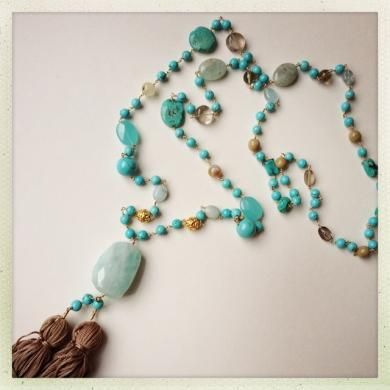 Cleo Tassel Necklace Turquoise