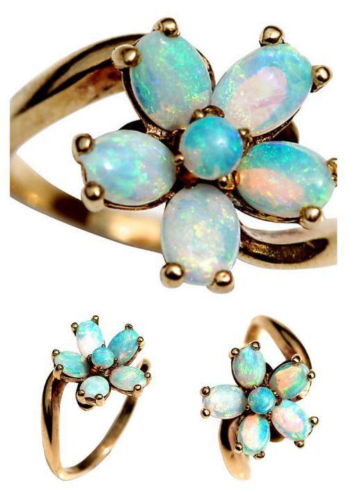 Australian Opal Flower Ring 14k Gold – Yourgreatfinds