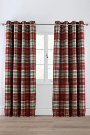Buy Charcoal Woven Check Stirling Eyelet Curtains from the Next UK online shop