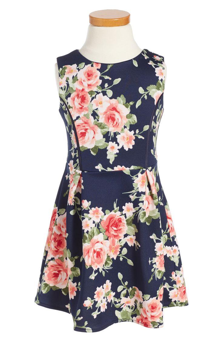 Navy Floral Flower Girl Dress - Floral Dress