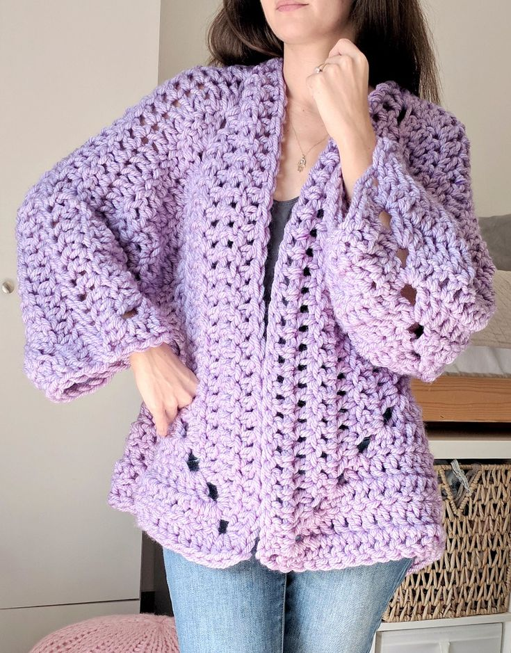 Super Chunky Hexagon Cardigan - Free Crochet Pattern at The Snugglery.