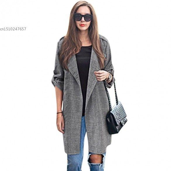 6.64$  Watch here - 2016 Spring Women Slim Thin Outerwear Casual Lapel Windbreaker Cape Coat European Style Linen Jacket US  S-7XL   #magazineonlinebeautiful