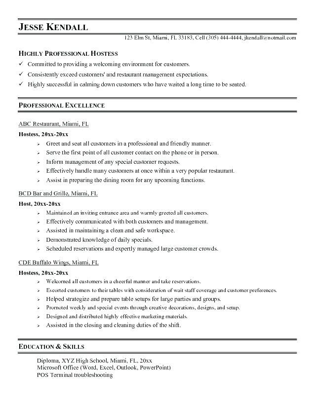 Resume Examples Job Duties Pinterest Resume examples - Examples Of Resumes For Restaurant Jobs