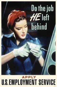This is another propaganda poster from world war 2 and is credible because it was found during the 40's. This poster tells us that after the men left for the war, women were needed to work in men's jobs because there were spots to be filled to help produce things for the war such as; guns, tanks, and machinery.