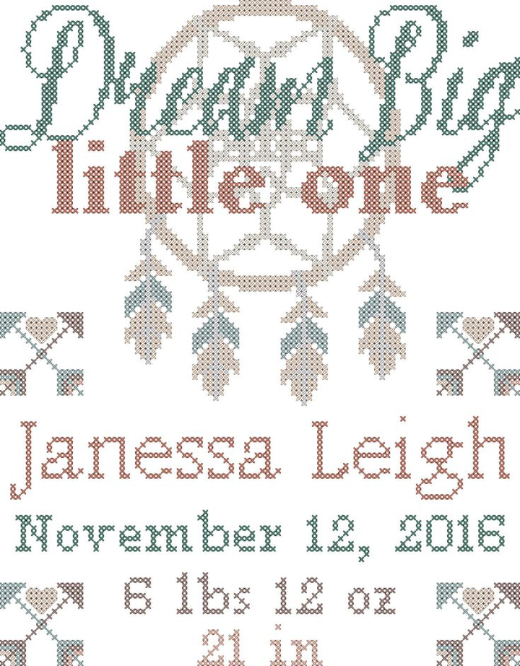 Tribal Baby Birth Record Cross Stitch Pattern - Dream Catcher Dream Big Little…