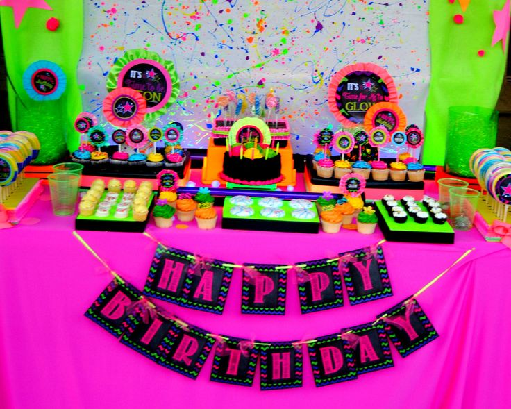 NEON PARTY- Diva Party- Rock Star Party- 80's BANNER- GLOW Party- Tween