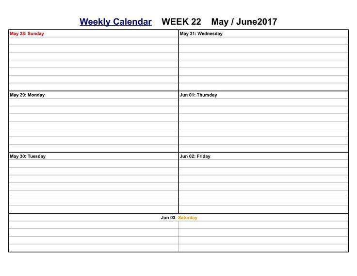 Más de 25 ideas increíbles sobre Excel calendar template en Pinterest - sample weekly agenda