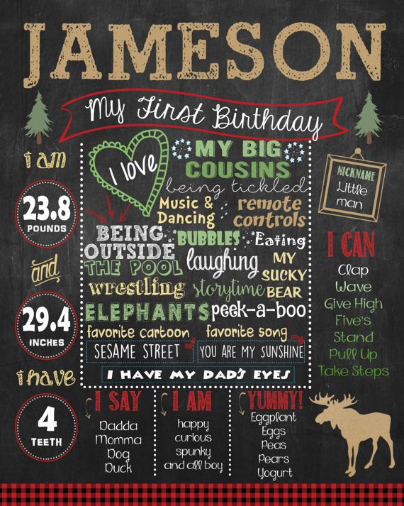 Lumberjack First Birthday Chalkboard poster by HaleyMadisonDesign