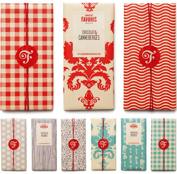 Chocolats Favoris bar Logo and Packaging design. gingham, and flourished designs ; red, turquoise, gray-purple.