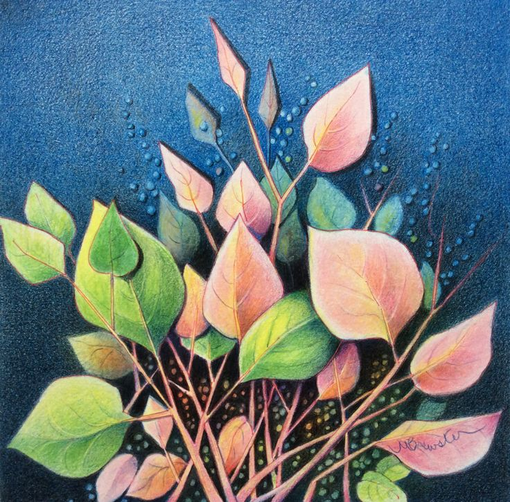 Leaves. Beautiful colour pencil drawing by Margaret Brewster. Mixed media artist.