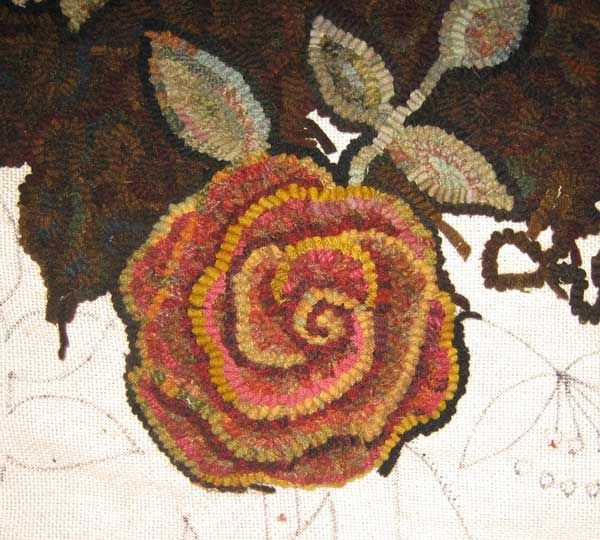 Improving the rose - Day 44 of Rug Hooking  Primitive hooked rose with depth
