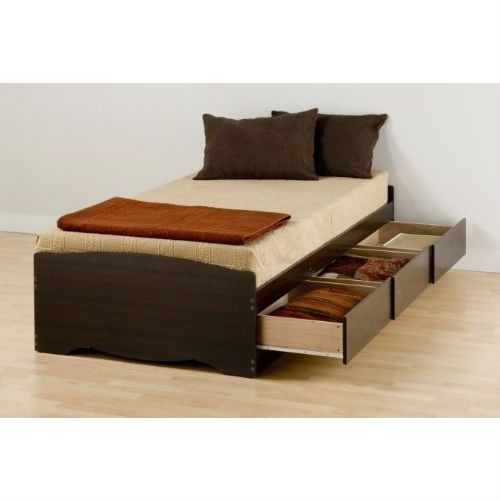 twin xl espresso brown platform bed with 3 storage drawers - Xl Twin Bed Frames
